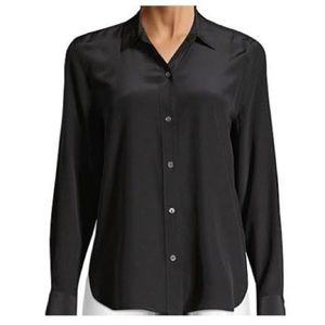 Saks Fifth Avenue black silk button down shirt